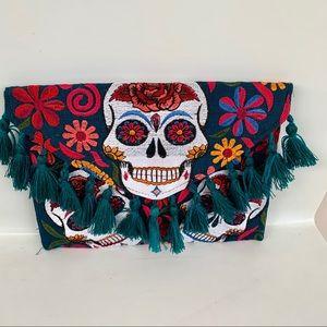 Handbags - Mexican Skull Clutch Crossbody GREEN Bag NEW